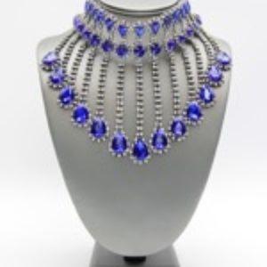 Crystal Fringe Montana Blue Choker Necklace Set